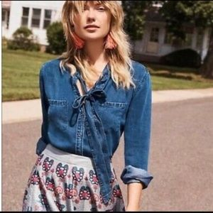 Rails Rosalee Tie-Neck Chambray Blouse